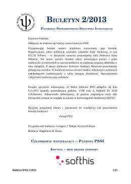 biuletyn 2/2013 - Polskie Stowarzyszenie Sztucznej Inteligencji