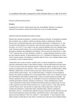 Zápisnica OcZ z 10.10.2013