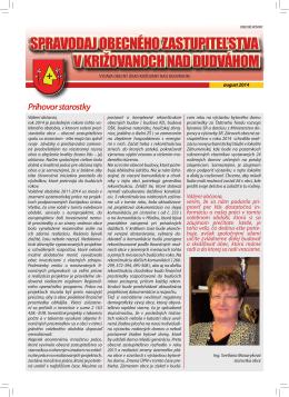 Spravodaj - Križovany nad Dudváhom