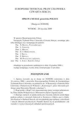 europejski trybunał praw człowieka czwarta sekcja