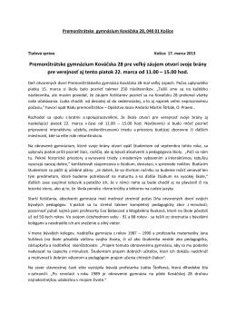 Premonštrátske gymnázium Kováčska 28 pre veľký záujem otvorí