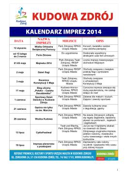 KALENDARZ IMPREZ 2014