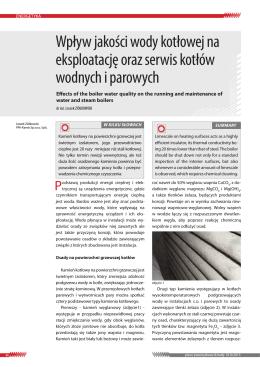 Wpływ jakości wody kotłowej na eksploatację oraz serwis kotłów