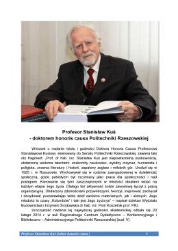 Profesor Stanisław Kuś - doktorem honoris causa Politechniki