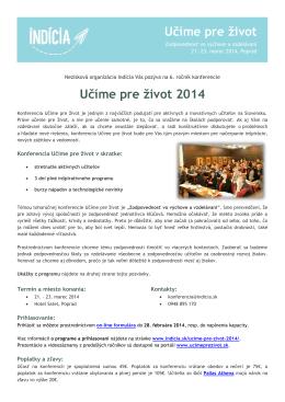 pozvanka Ucime pre zivot 2014
