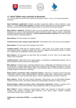 11. ročník Týždňa vedy a techniky na Slovensku