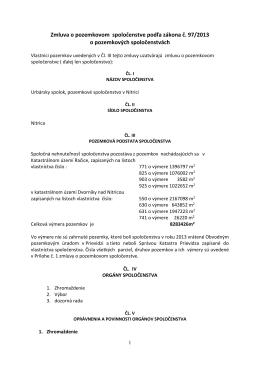 Zmluva o pozemkovom spoločenstve podľa zákona č. 97/2013 o
