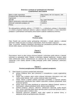 Smernica o postupe pri sprístupňovaní informácií