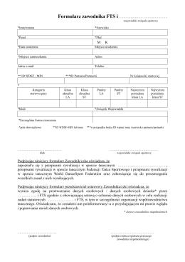 formularz zawodnika FTS