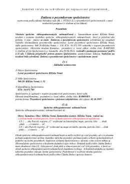 návrh Zmluvy o pozemkovom spoločenstve : Stanovy