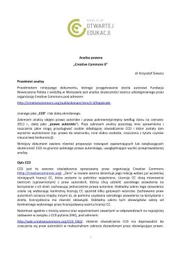 """Analiza prawna """"Creative Commons 0"""" dr Krzysztof Siewicz"""