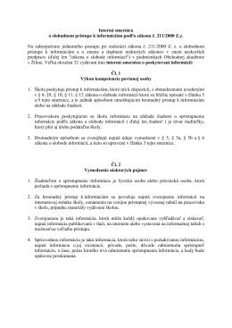 Interná smernica o slobodnom prístupe k informáciám podľa zákona