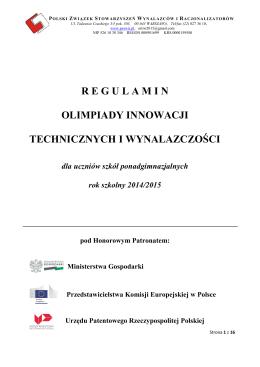 regulamin olimpiady innowacji technicznych i wynalazczości