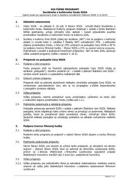 KULTÚRNE PROGRAMY Sociálneho a kultúrneho fondu SOZA 1