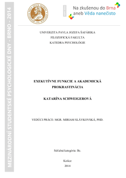 exekutívne funkcie a akademická prokrastinácia katarína