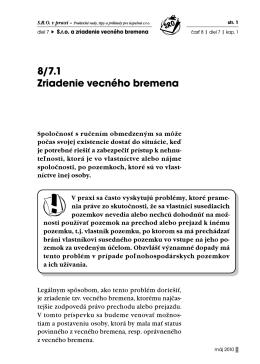 8/7.1 Zriadenie vecného bremena