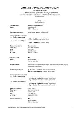Zmluva o dielo - Stredná odborná škola, Nerudova 13, 92001