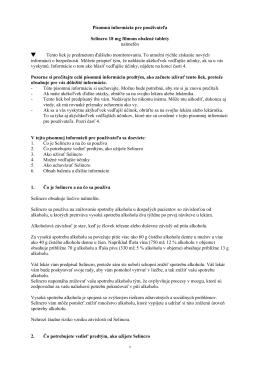 Písomná informácia pre používateľa Selincro 18 mg