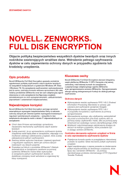 NOVELL® ZENWORKS® FULL DISK ENCRYPTION