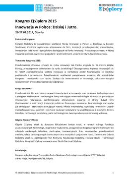 Kongres E(x)plory 2015 Innowacje w Polsce: Dzisiaj i Jutro.