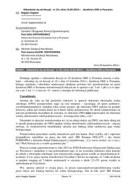 Odwołanie się od decyzji - nr 10 z dnia 14.04.2014 r