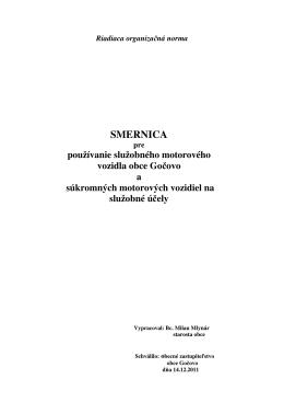 Smernica pre používanie služobného motorového vozidla r.2012