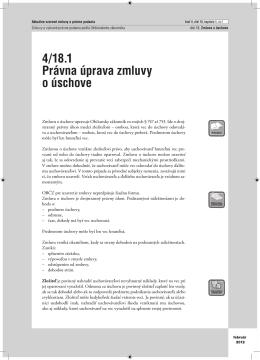 4/18.1 Právna úprava zmluvy o úschove