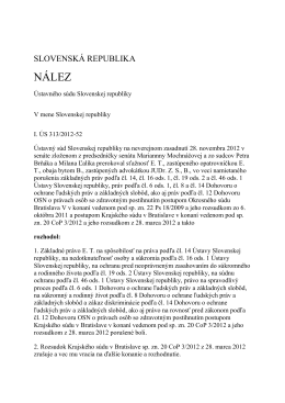 I. ÚS 313/2012