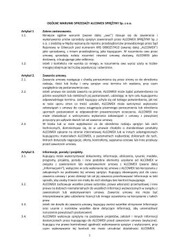 OGÓLNE WARUNKI SPRZEDAŻY ALCOMEX SPRĘŻYNY Sp. z o.o.