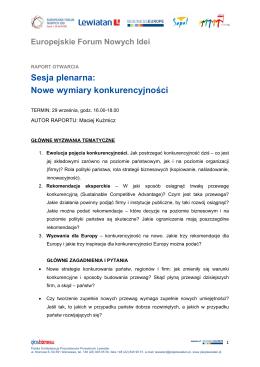 Sesja plenarna: Nowe wymiary konkurencyjności