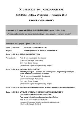 1 września 2013 * PROGRAM RAMOWY