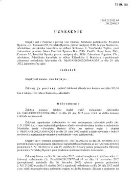 PO 4 Uznesenie Krajského súdu Trenčín