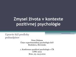 Zmysel života v kontexte pozitívnej psychológie