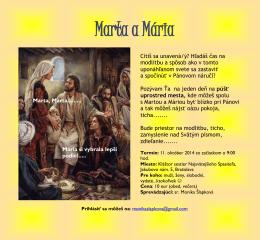Pozvánka MARTA A MÁRIA