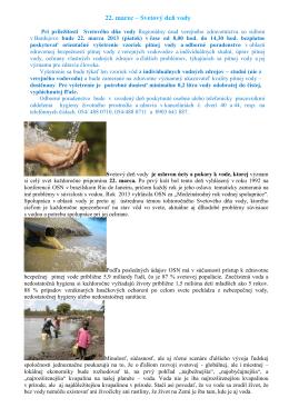 22. marec – Svetový deň vody - Regionálny úrad verejného