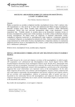 2014, roč. 8, č. 1 SOCIÁLNE A RELIGIÓZNE - E