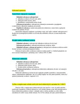 Ochranné opatrenia Samočinné odpojenie napájania Dvojitá alebo