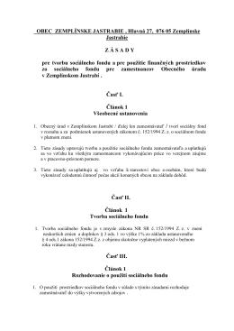 Zásady tvorby a čerpania sociálneho fondu