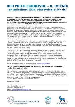 Tlačová správa, 20.5.2014, II. ročník Beh proti cukrovke pri