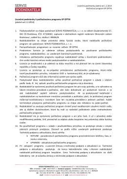 Licenčné podmienky k počítačovému programu SP OPTIK
