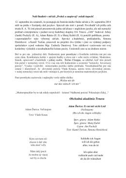 Prelož a zaspievaj - Obchodná akadémia, Kukučínova 2, Trnava