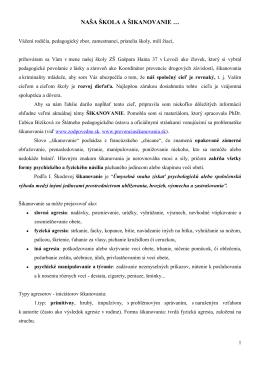 naša škola a šikanovanie - Základná škola Gašpara Haina Levoča