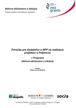 Príručka pre žiadateľov o NFP na realizáciu projektov a Príjemcov