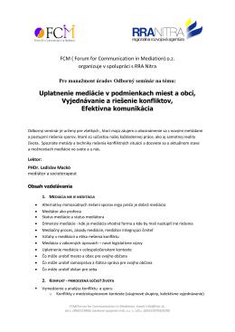 Uplatnenie mediácie v podmienkach miest a obcí, Vyjednávanie a