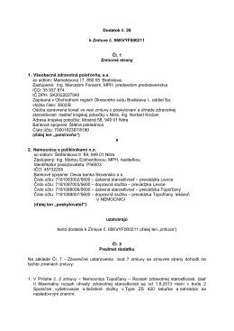 Dodatok č. 26 k Zmluve č. 06KVYF000211 Čl. 1 Zmluvné strany 1
