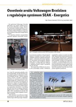 Osvetlenie areálu Volkswagen Bratislava s regulačným systémom