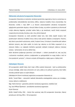 Občianske združenie Europacolon Slovensko Zakladajúci členovia