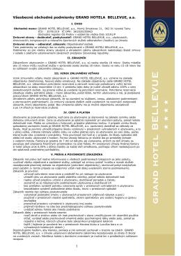 Všeobecné obchodné podmienky GRAND HOTELA BELLEVUE , a.s.