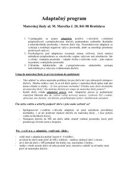 Adaptačný program vo formáte pdf k náhľadu a na stiahnutie.