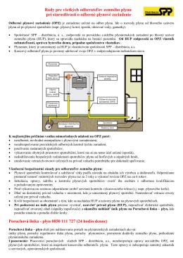 Rady pre všetkých odberateľov zemného plynu pri starostlivosti o